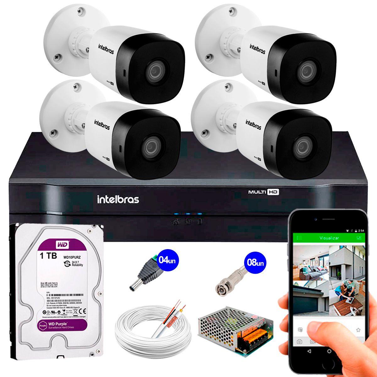 Kit 4 Câmeras VHD 3120 B G5 + DVR Intelbras + HD 1TB para Armazenamento + App Grátis de Monitoramento, Câmeras HD 720p 20m Infravermelho de Visão Noturna Intelbras + Fonte, Cabos e Acessórios  - Tudo Forte
