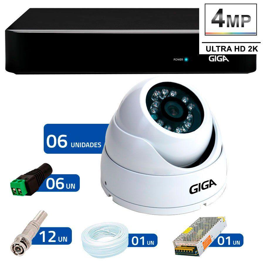Kit 6 Câmeras de Segurança 4 Megapixels Ultra HD 2k Giga Security GS0041  + DVR Giga Security 4MP + Acessórios  - Tudo Forte