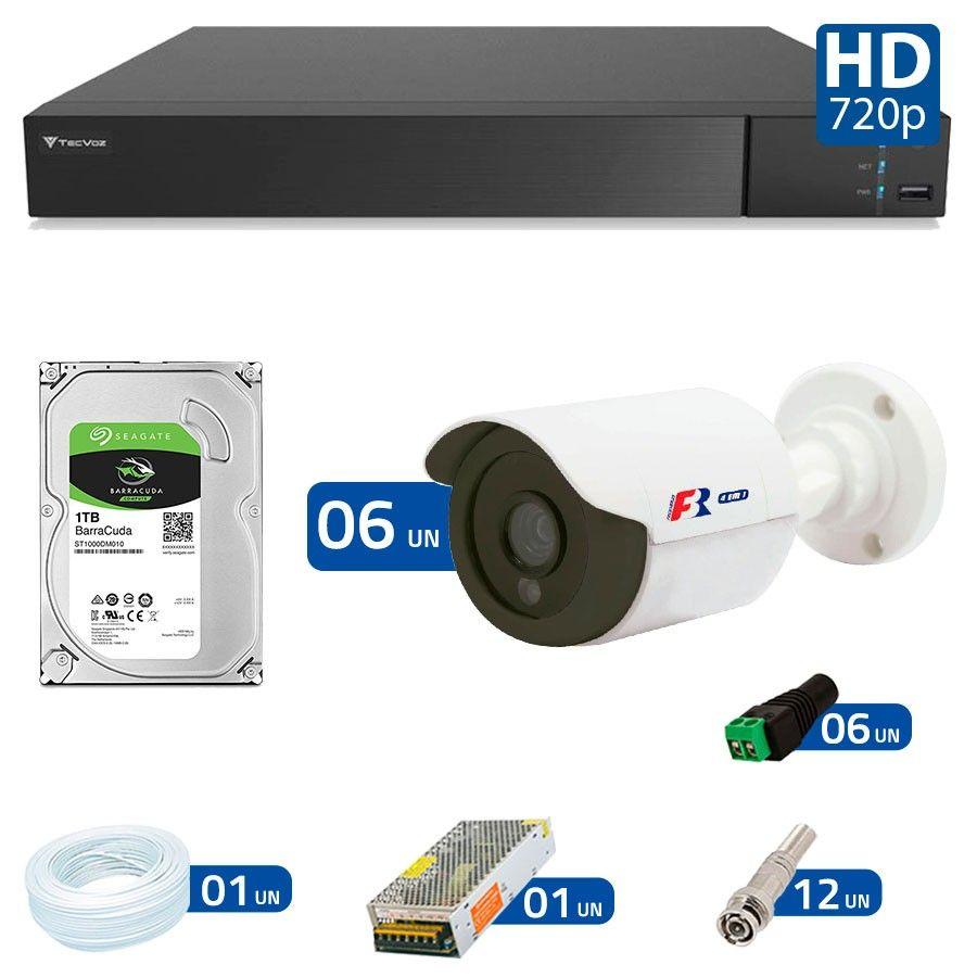 Kit 6 Câmeras de Segurança Bullet HD 720p Focusbras + DVR Flex Tecvoz + HD para Gravação 1TB + Acessórios