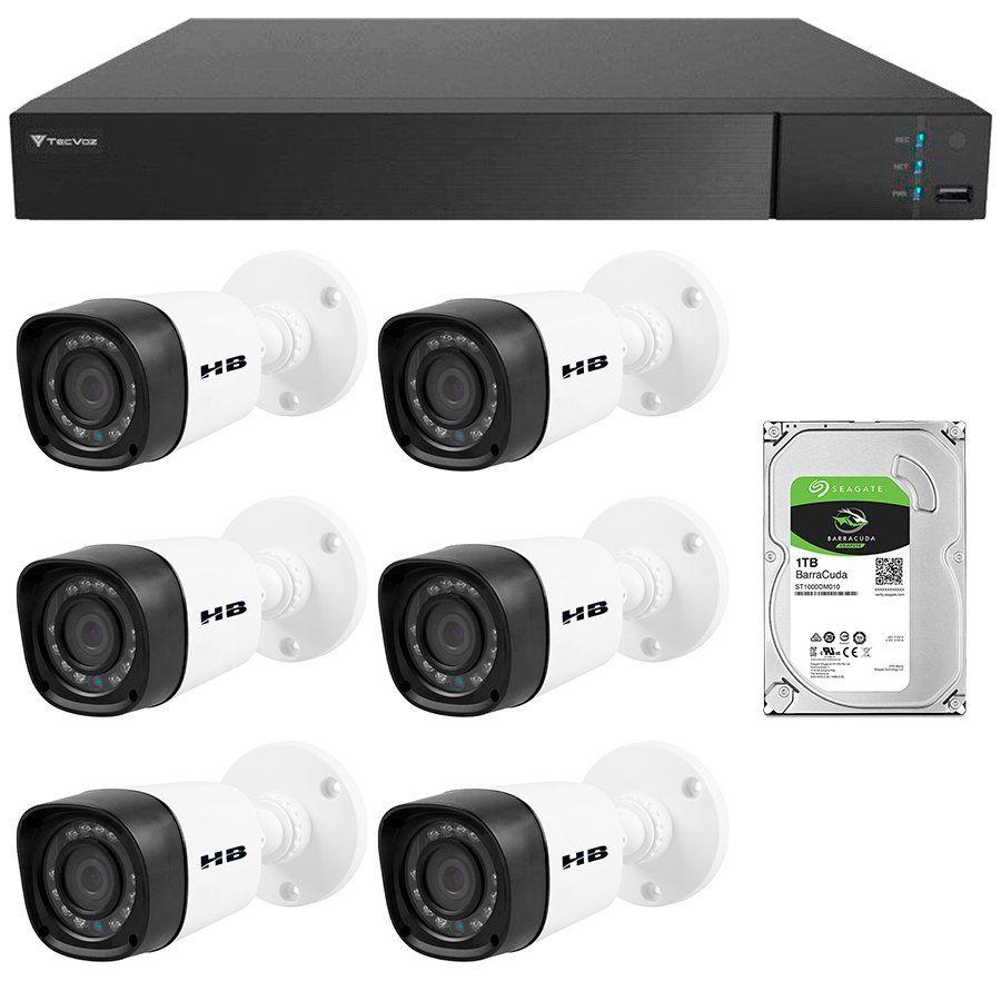 Kit 6 Câmeras de Segurança Bullet HD 720p HB Tech + DVR Flex Tecvoz + HD para Gravação 1TB + Acessórios