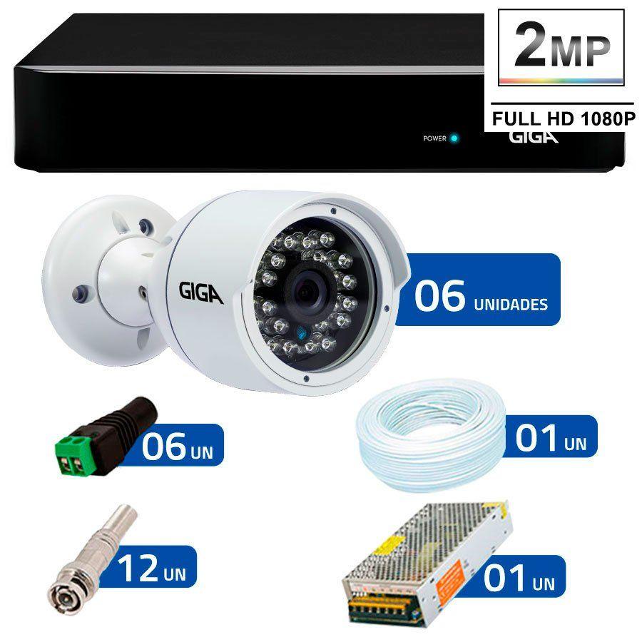 Kit 6 Câmeras de Segurança Full HD 1080p Giga Security GS0029  + DVR Giga Security 4MP + Acessórios