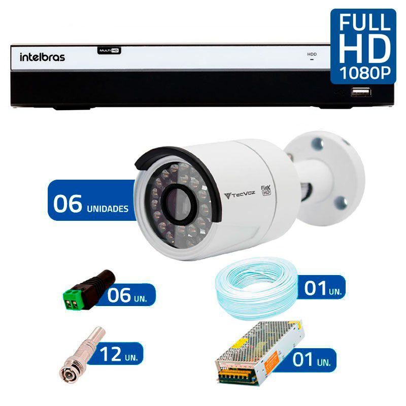 Kit 6 Câmeras de Segurança Full HD 1080p QCB 236 Tecvoz + DVR Intelbras Full HD + Acessórios