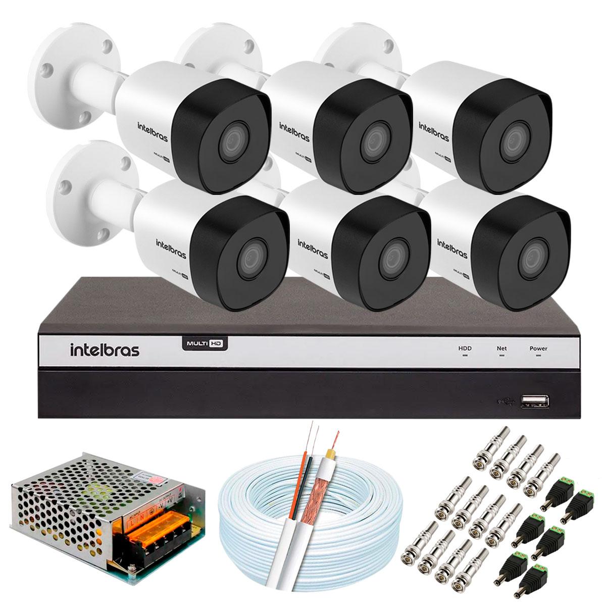 Kit 6 Câmeras de Segurança Full HD 1080p VHD 3230 B G5 + DVR Intelbras MHDX 3108 Full HD de 8 Canais + Acessórios  - Tudo Forte
