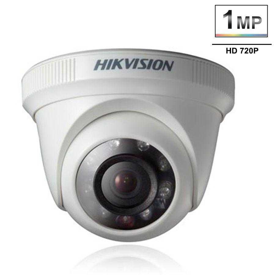 Kit 6 Câmeras de Segurança HD 720p Hikvision Dome 20 metros + DVR Hikvision + Acessórios