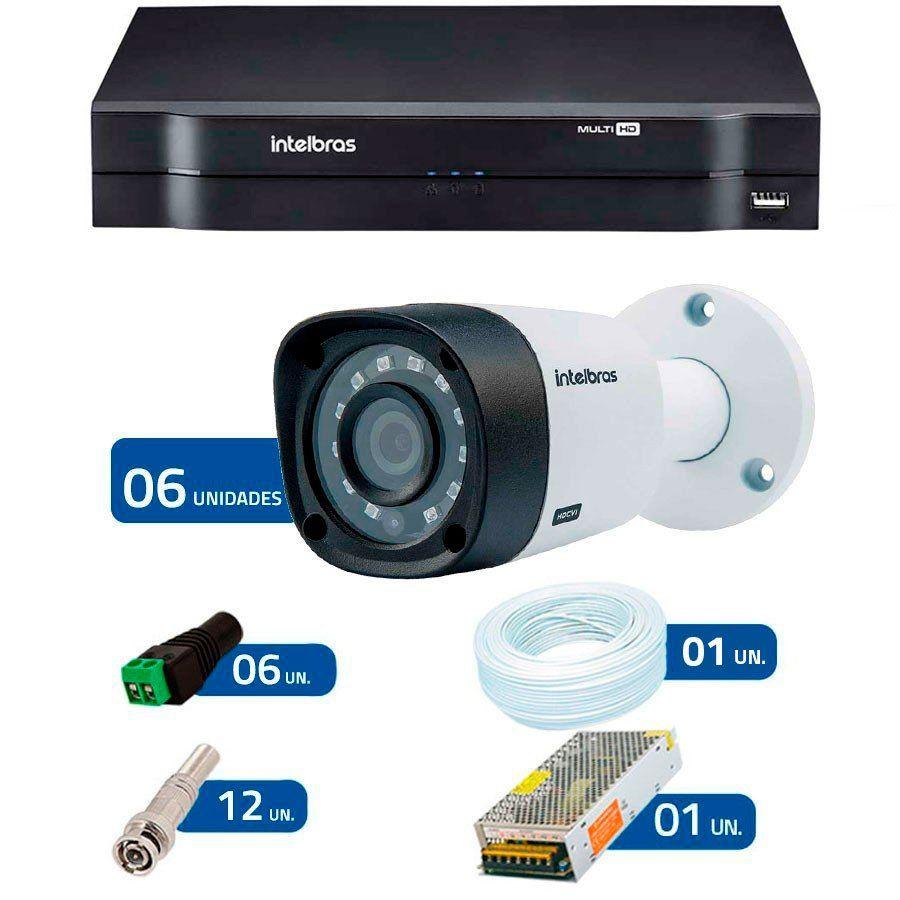 Kit 6 Câmeras de Segurança HD 720p Intelbras VHD 3120B G3 + DVR Intelbras Multi HD + Acessórios