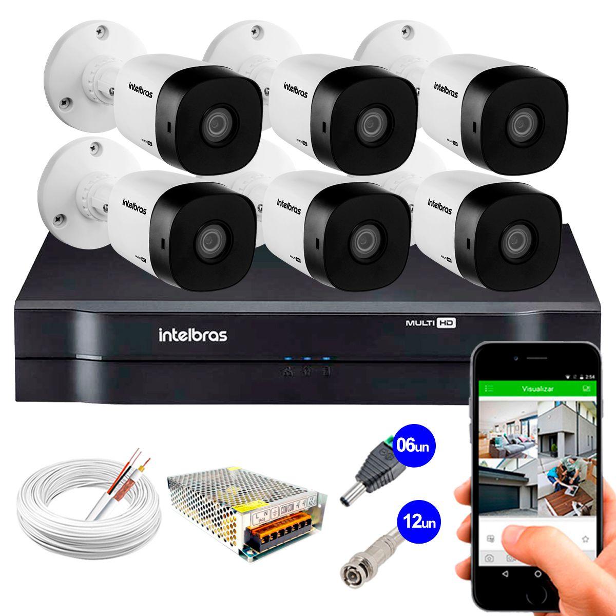 Kit 6 Câmeras VHD 3120 B G5 + DVR Intelbras + App Grátis de Monitoramento, Câmeras HD 720p 20m Infravermelho de Visão Noturna Intelbras + Fonte, Cabos e Acessórios  - Tudo Forte