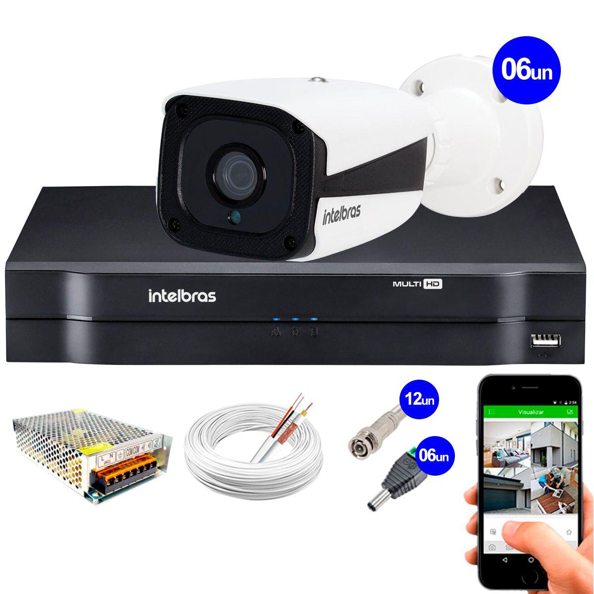 Kit Intelbras 6 Câmeras HD 720p VMH 3130 B + DVR Intelbras + Acessórios  - Tudo Forte