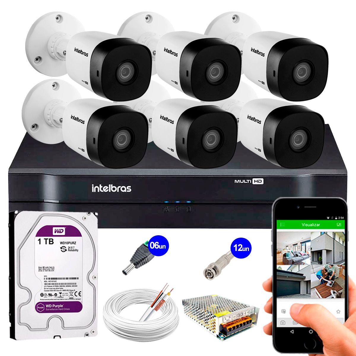 Kit 6 Câmeras VHD 3120 B G5 + DVR Intelbras + HD 1TB para Armazenamento + App Grátis de Monitoramento, Câmeras HD 720p 20m Infravermelho de Visão Noturna Intelbras + Fonte, Cabos e Acessórios  - Tudo Forte