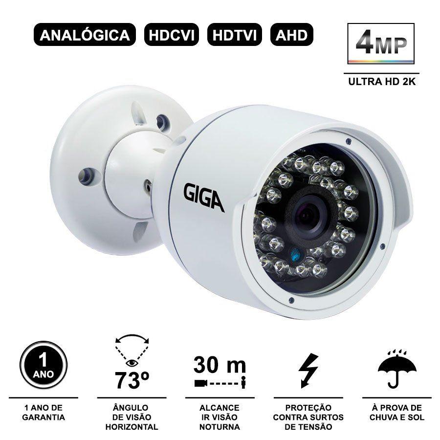 Kit 8 Câmeras de Segurança 4 Megapixels Ultra HD 2k Giga Security GS0042  + DVR Giga Security 4MP + Acessórios