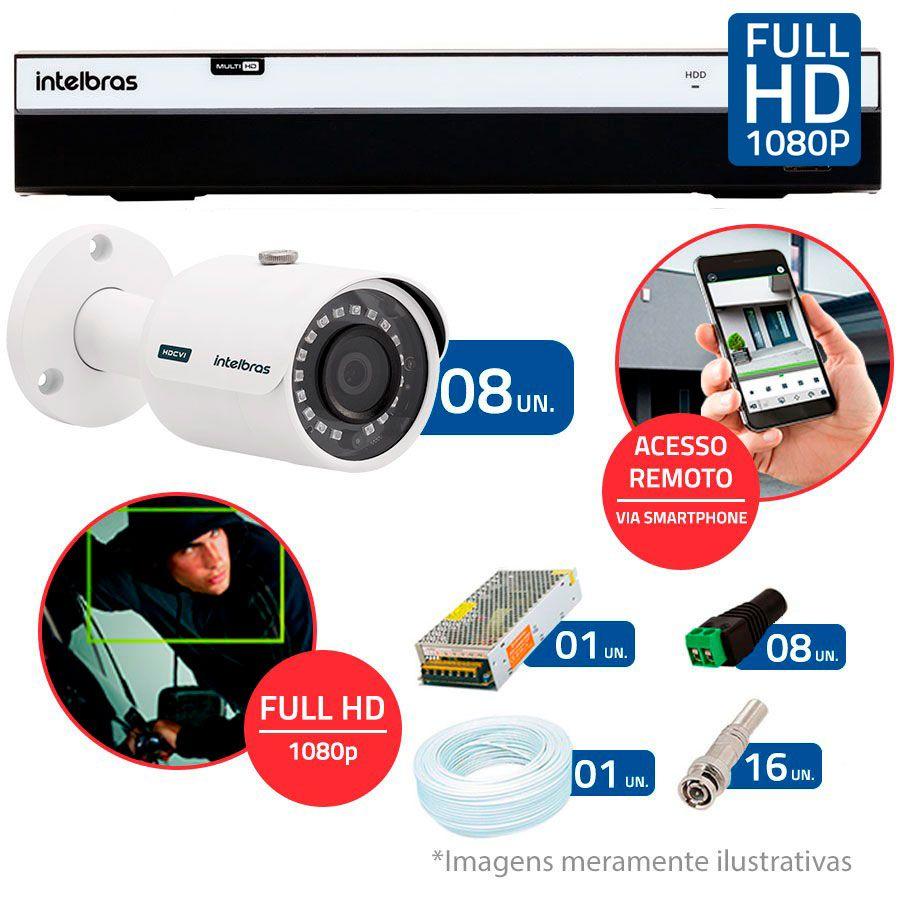 Kit 8 Câmeras de Segurança Full HD 1080p Intelbras VHD 3230 + DVR Intelbras Full HD 8 Ch + Acessórios
