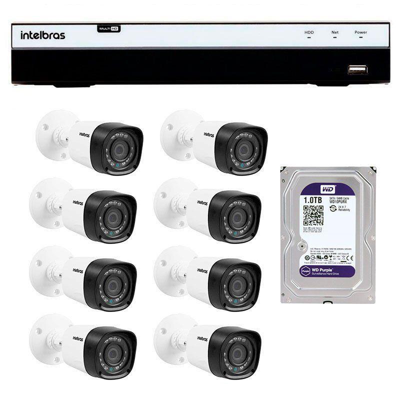 Kit 8 Câmeras de Segurança Full HD 1080p VHD 1220B IR + DVR Intelbras Full HD + HD WD Purple 1TB + Acessórios