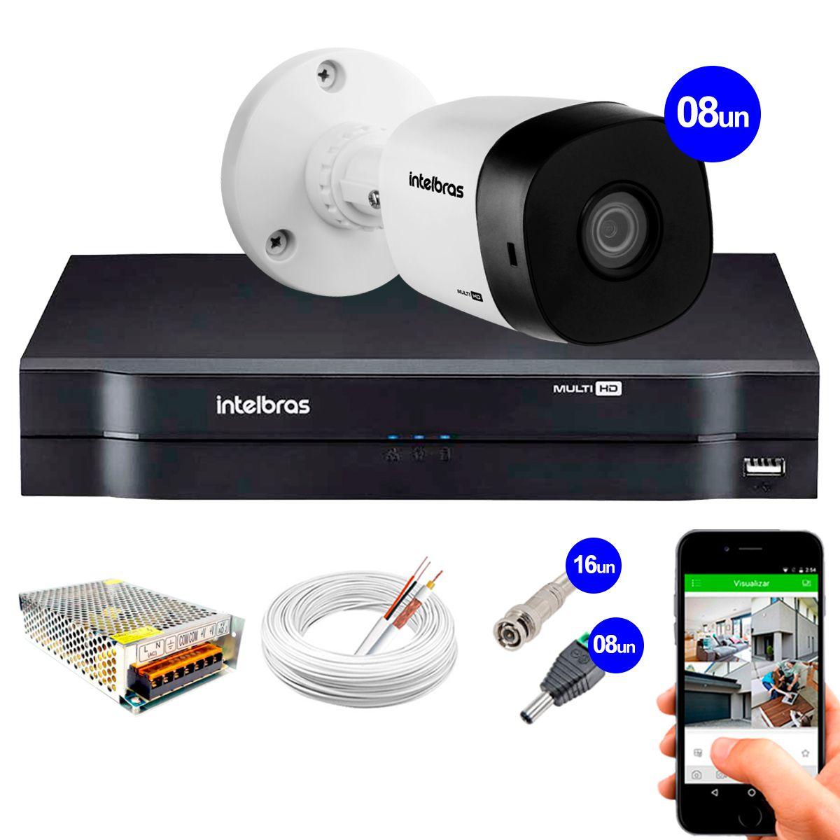 Kit 8 Câmeras VHD 1120 B G5 + DVR Intelbras + App Grátis de Monitoramento, Câmeras HD 720p 20m Infravermelho de Visão Noturna Intelbras + Fonte, Cabos e Acessórios  - Tudo Forte