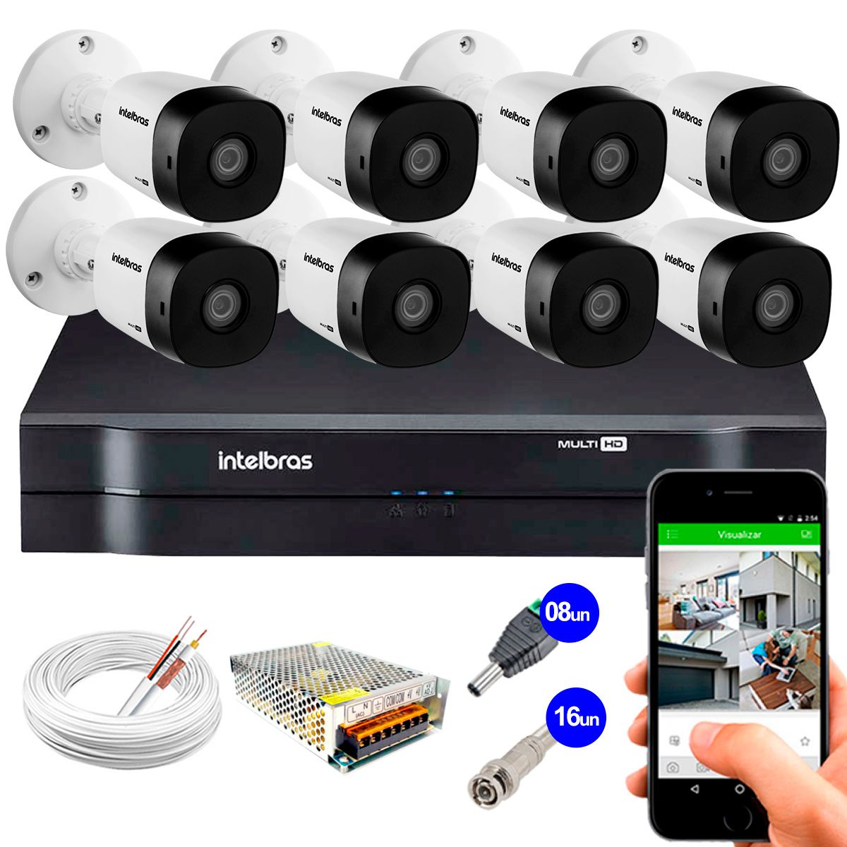 Kit 8 Câmeras VHD 3120 B G5 + DVR Intelbras + App Grátis de Monitoramento, Câmeras HD 720p 20m Infravermelho de Visão Noturna Intelbras + Fonte, Cabos e Acessórios  - Tudo Forte