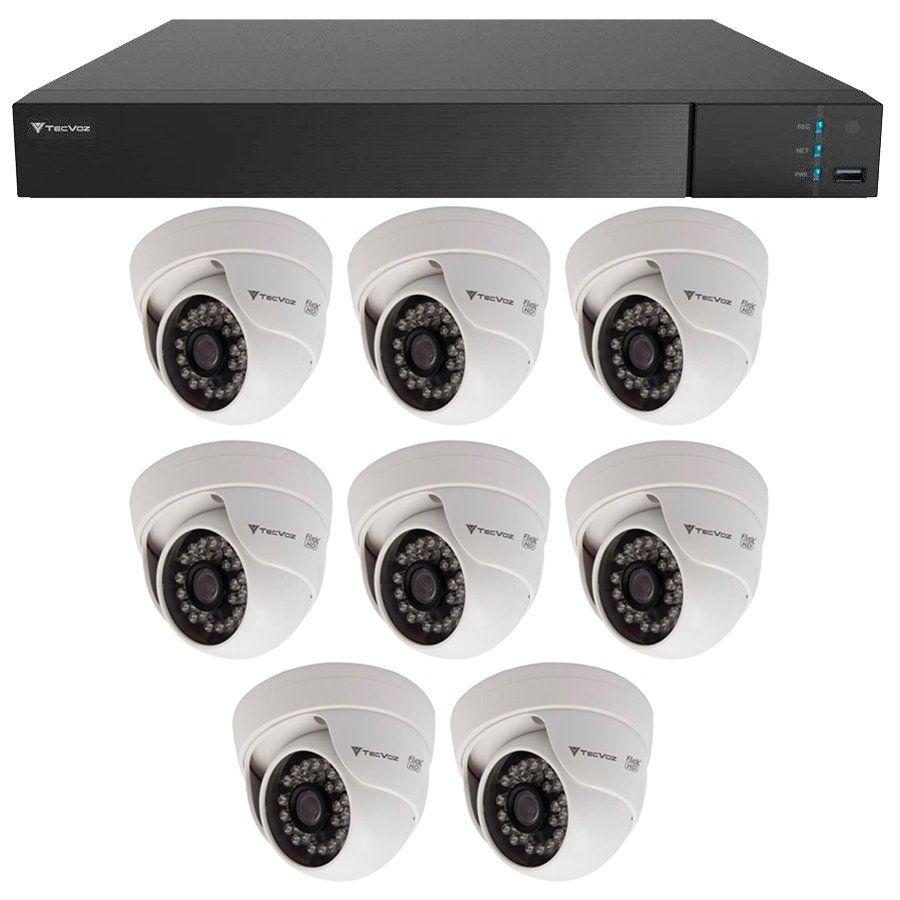Kit 8 Câmeras de Segurança HD 720p Tecvoz Flex QDM 128P - DVR Tecvoz Flex 4 em 1 + Acessórios