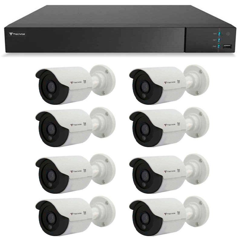 Kit 8 Câmeras de Segurança Tecvoz HD 720p CCB-128P + DVR Flex Tecvoz + Acessórios  - Tudo Forte
