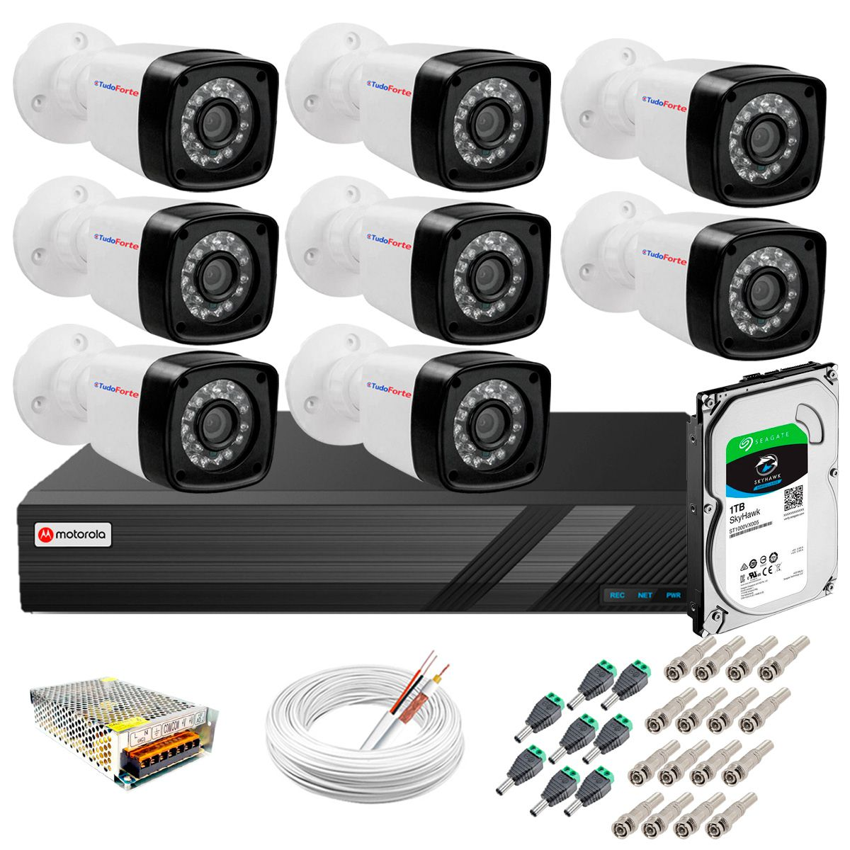 Kit 8 Câmeras + DVR Motorola + App de Monitoramento, Câmeras HD 720p 20m Infravermelho de Visão Noturna Tudo Forte Completo com Acessórios