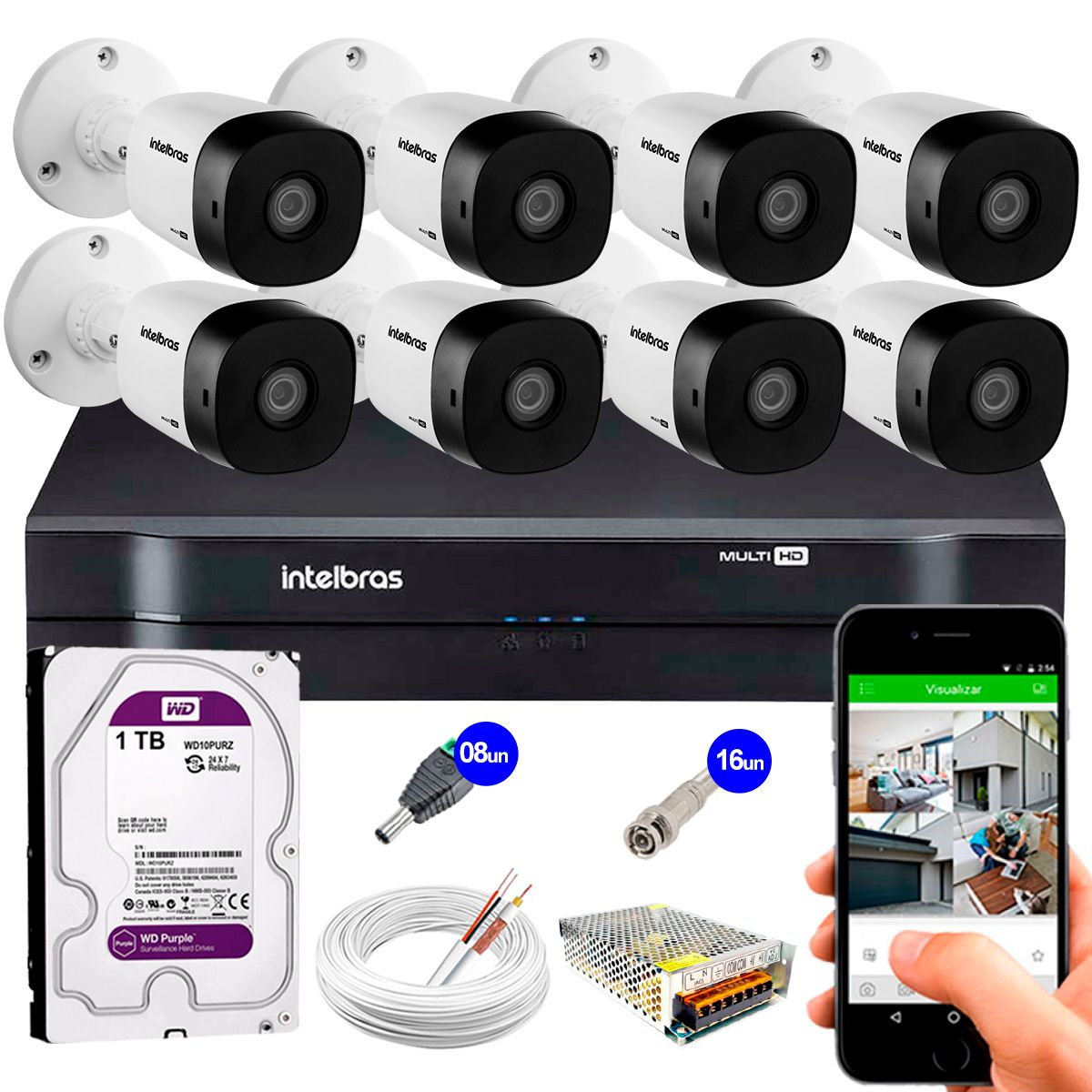 Kit 8 Câmeras VHD 3120 B G5 + DVR Intelbras + HD 1TB para Armazenamento + App Grátis de Monitoramento, Câmeras HD 720p 20m Infravermelho de Visão Noturna Intelbras + Fonte, Cabos e Acessórios  - Tudo Forte
