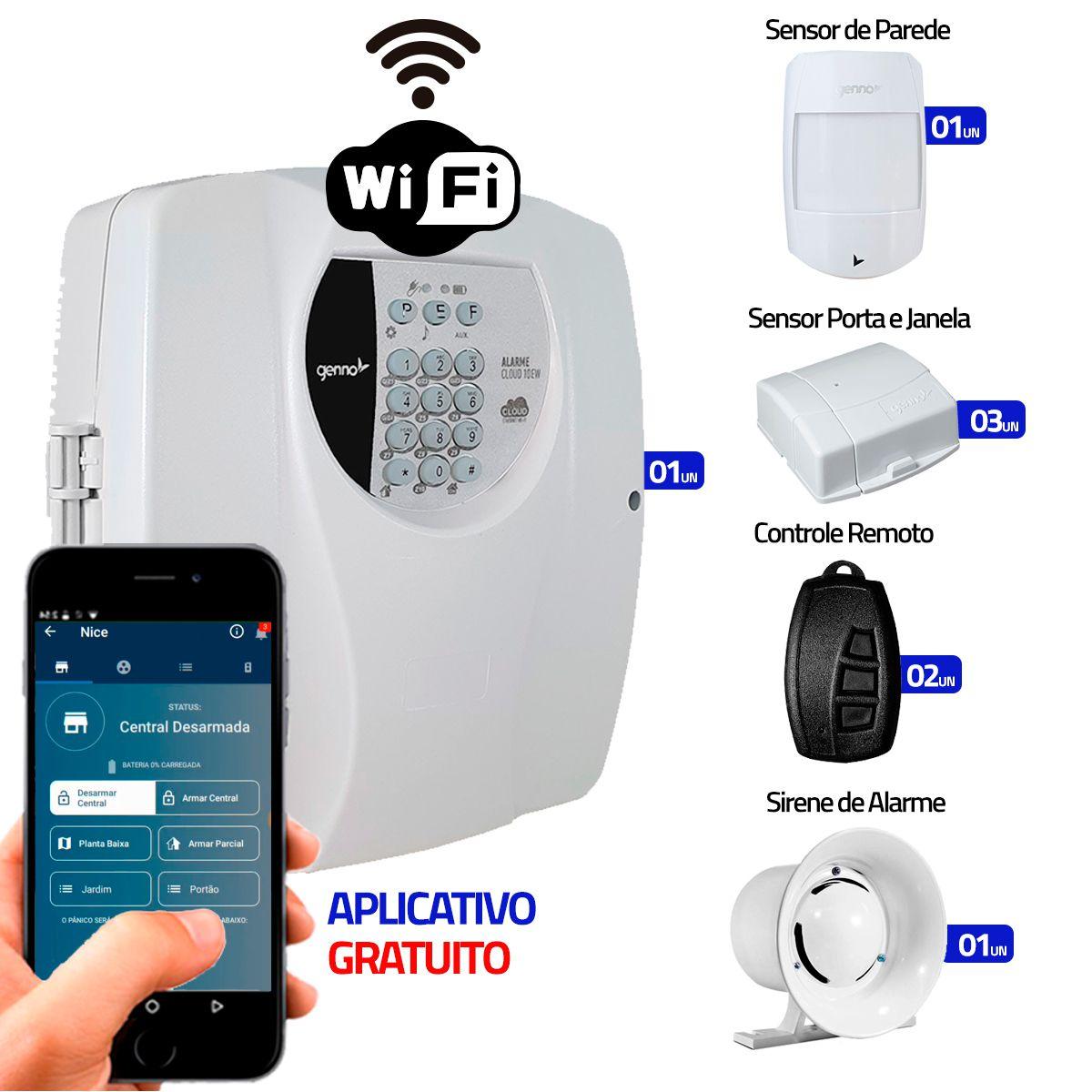Kit Alarme Residencial Wifi 4 Sensores sem fio, 2 Controles Remoto, Central Cloud 10 EW Genno  - Tudo Forte