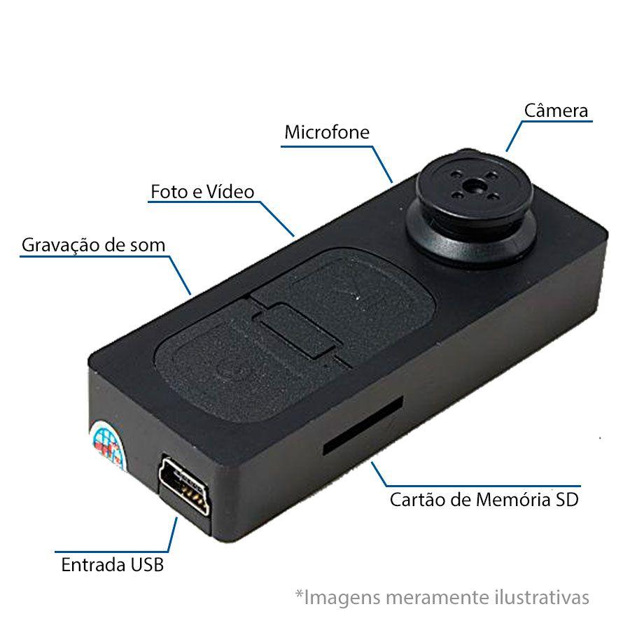 Kit Botão de Camisa Espião Mini Câmera Escondida Camuflada + Cartão de Memória Micro SD 32GB
