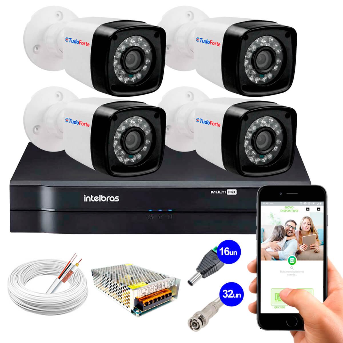 Kit Câmeras + DVR Intelbras + App Grátis de Monitoramento, Câmeras HD 720p 20m Infravermelho de Visão Noturna + Fonte, Cabos e Acessórios  - Tudo Forte