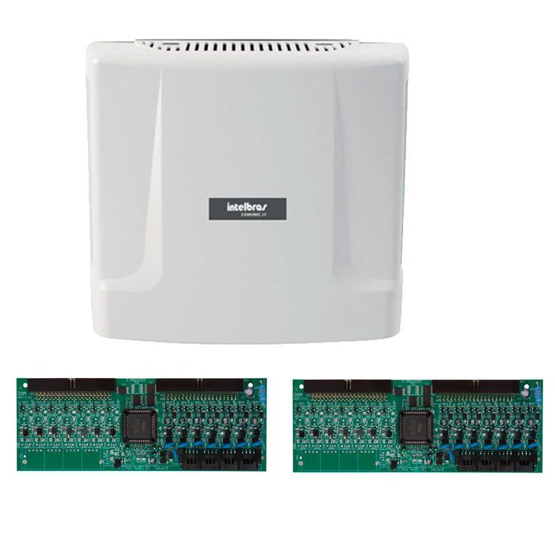Kit Central de Interfone Condomínio com 16 Ramais - Intelbras Comunic 48 + Placas Desbalanceadas  - Tudo Forte