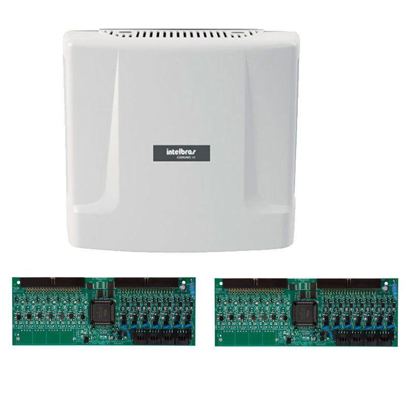 Kit Central de Interfone Condomínio com 16 Ramais - Intelbras Comunic 48 + Placas Desbalanceadas