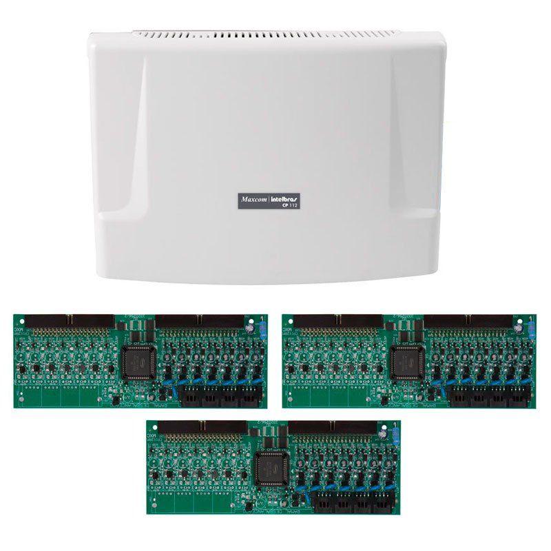 Kit Central de Interfone Condomínio com 48 Ramais, expansível até 112 ramais - Intelbras CP 112 + Placas Desbalanceadas  - Tudo Forte