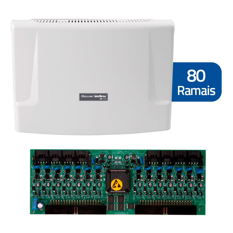 Kit Central de Interfone Condomínio com 80 Ramais, expansível até 112 ramais - Intelbras CP 112 + Placas Desbalanceadas  - Tudo Forte