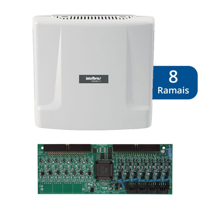 Kit Central de Interfone Condomínio com 8 Ramais - Intelbras Comunic 48 + Placa Desbalanceada