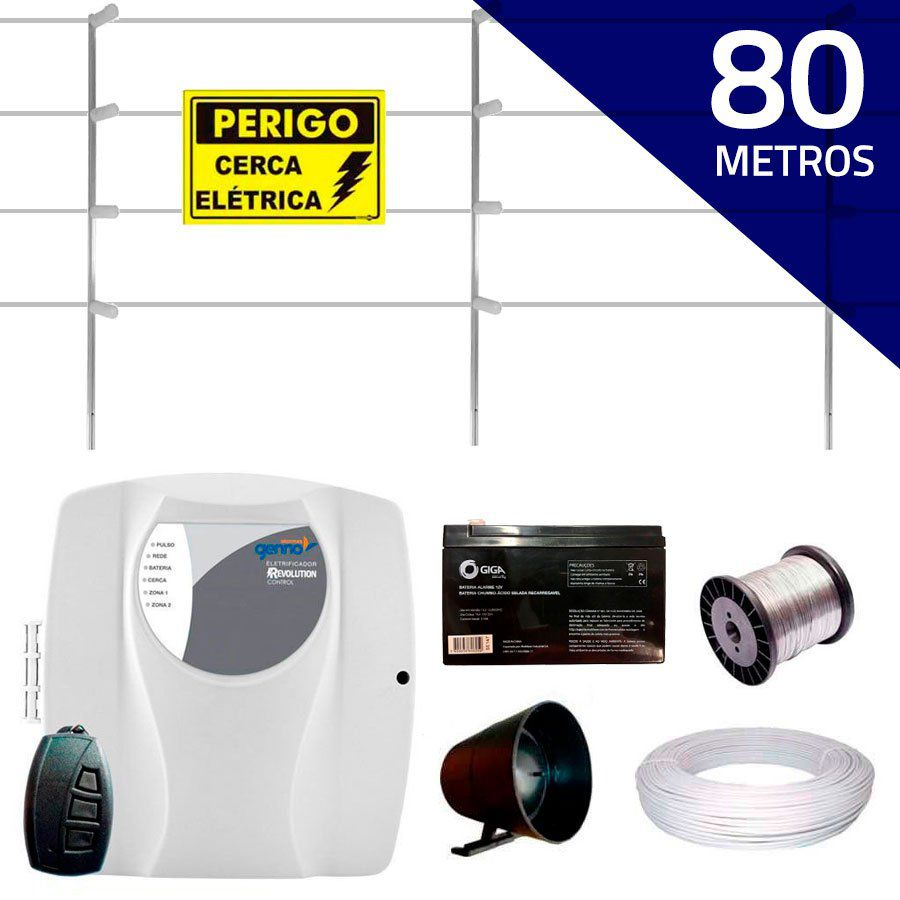 Kit Cerca Elétrica com 80 mts Genno + Controle Remoto, Completo