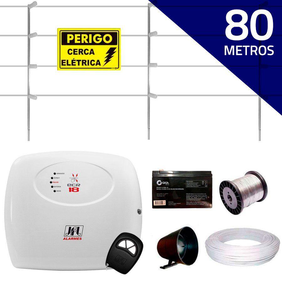 Kit Cerca Elétrica com 80 mts JFL + Controle Remoto, Completo