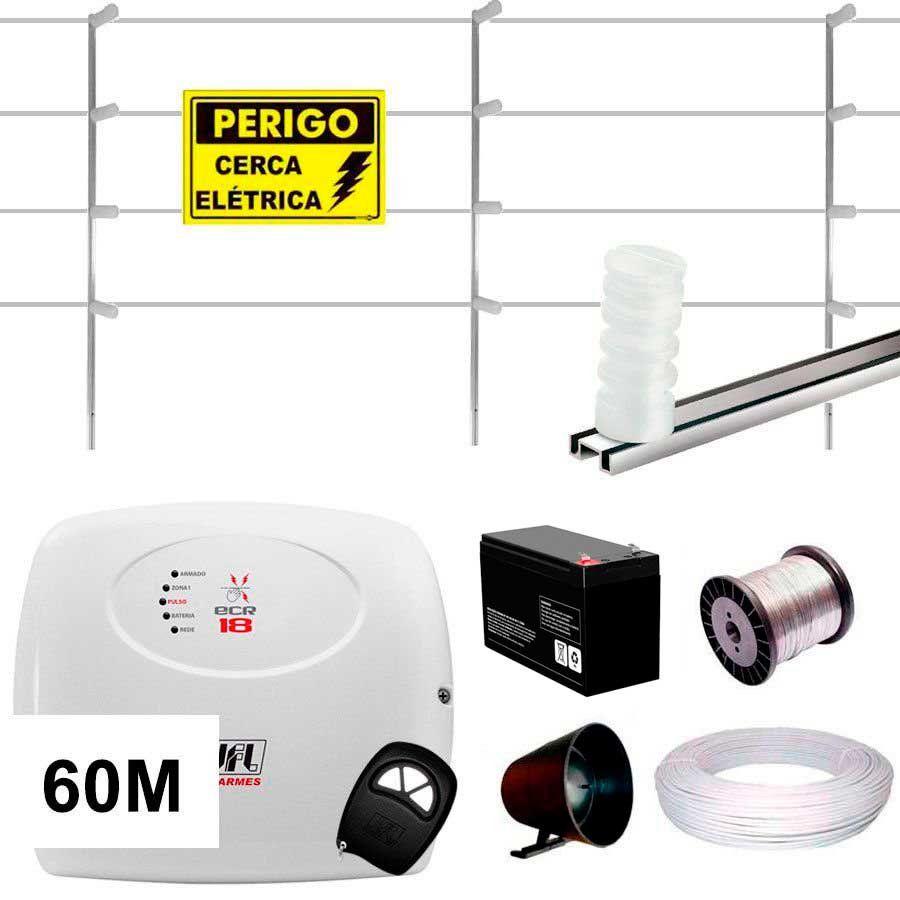 Kit Cerca Elétrica Jfl Ecr 18 60 Metros Haste M 75 Cm  - Tudo Forte
