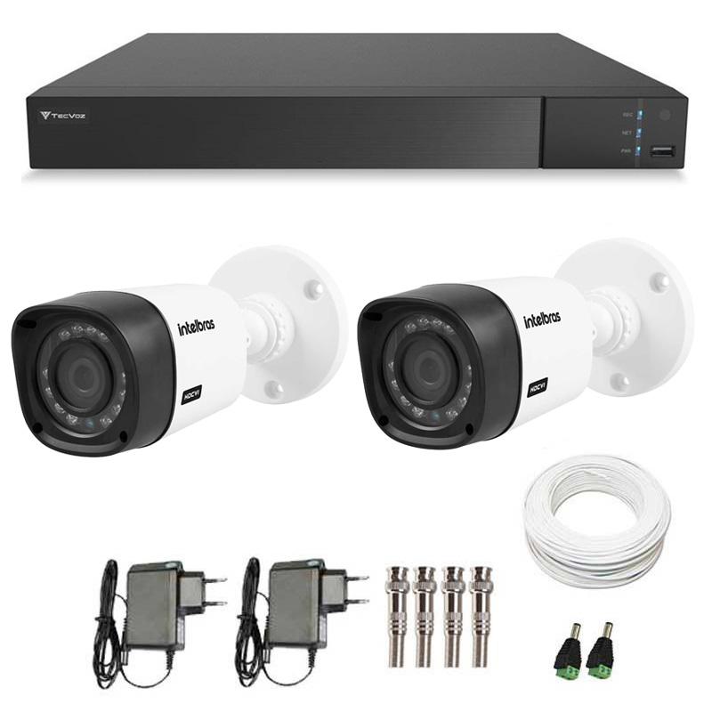 Kit 02 Câmeras de Segurança Full HD 1080p Intelbras VHD 1220 + DVR Tecvoz Flex Full HD + Acessórios