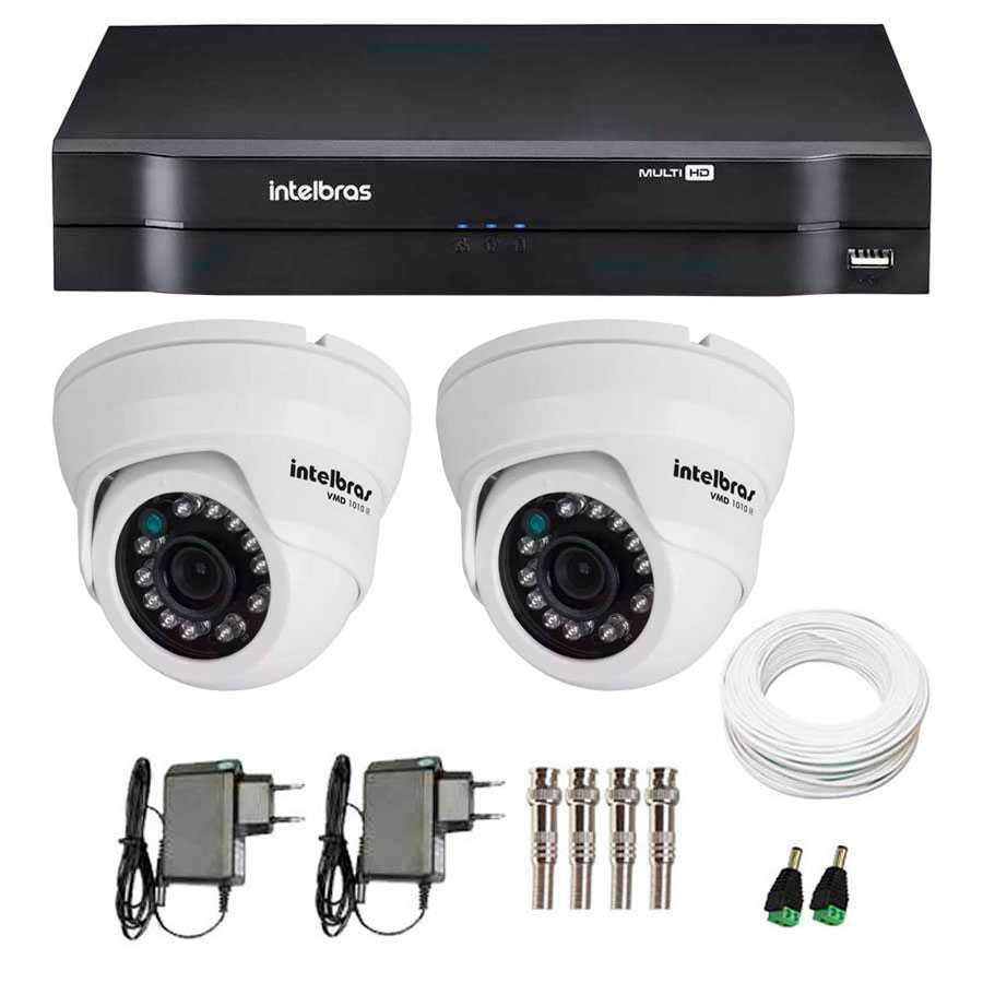 Kit 02 Câmeras de Segurança Dome HD 720p Intelbras VMD 1010 G4 + DVR Intelbras Multi HD + Acessórios
