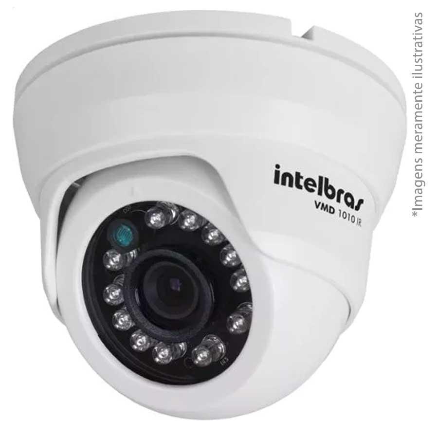 Kit 03 Câmeras de Segurança Dome HD 720p Intelbras VMH 1010 + DVR Intelbras Multi HD + Acessórios  - Tudo Forte