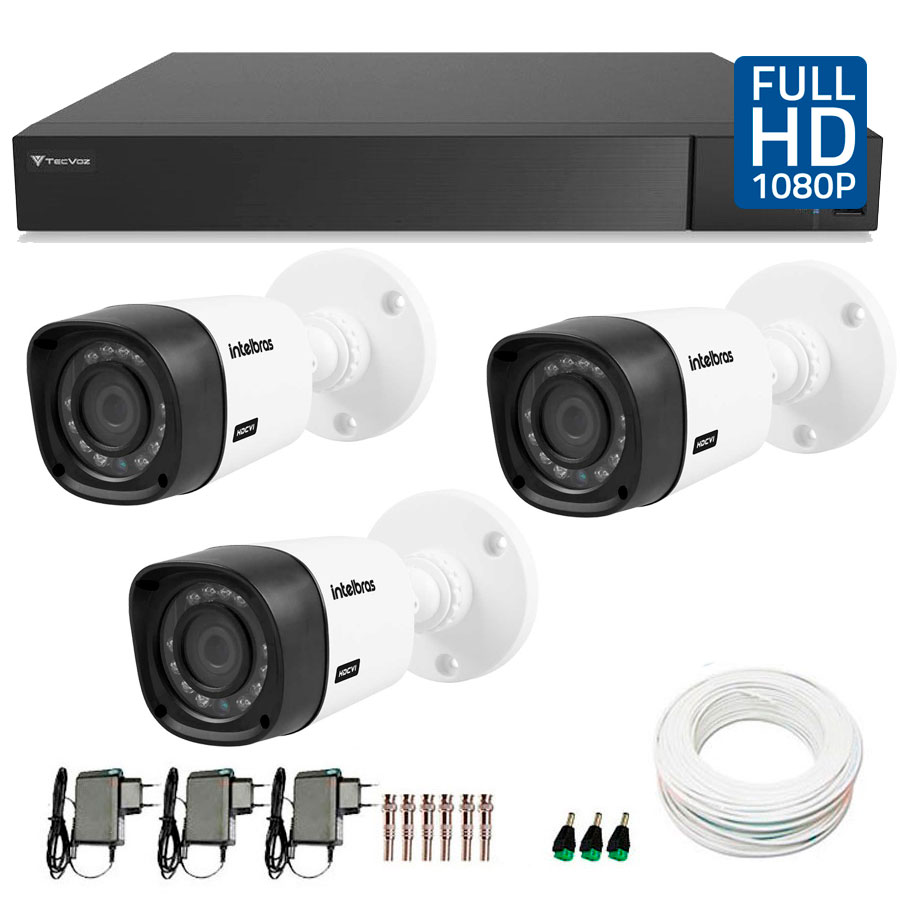 Kit 03 Câmeras de Segurança Full HD 1080p Intelbras VHD 1220 + DVR Tecvoz Flex Full HD + Acessórios
