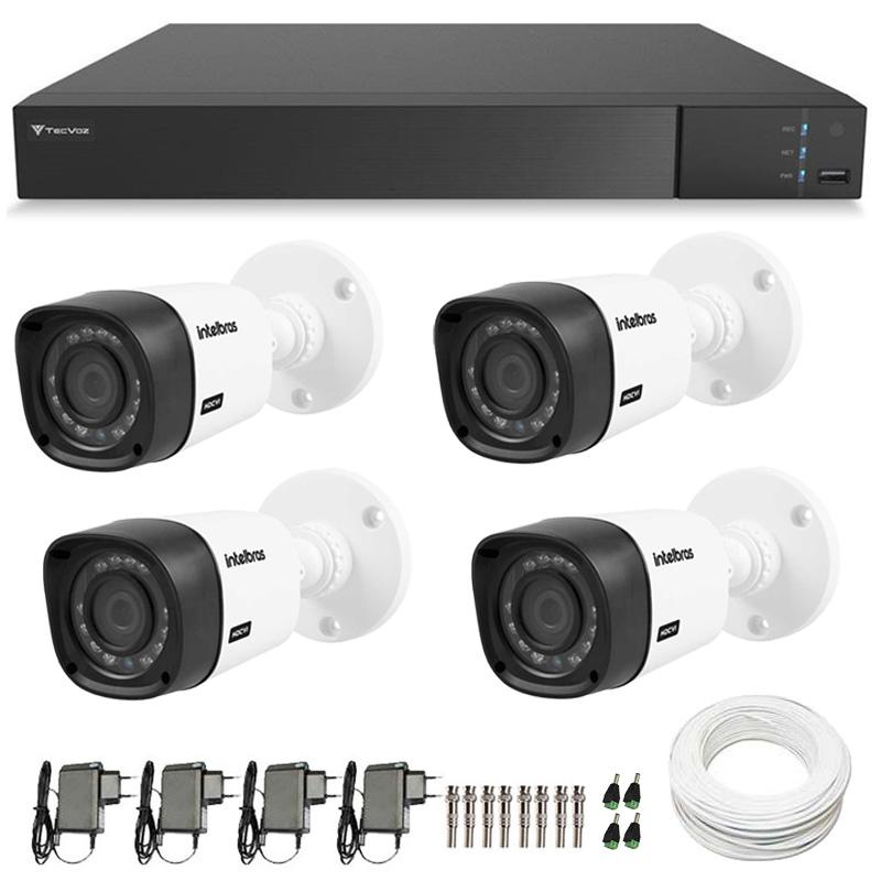 Kit 04 Câmeras de Segurança Full HD 1080p Intelbras VHD 1220 + DVR Tecvoz Flex Full HD + Acessórios