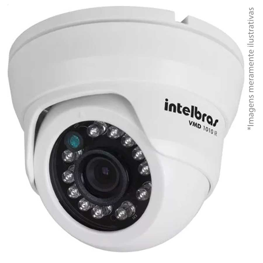 Kit 08 Câmeras de Segurança Dome HD 720p Intelbras VMH 1010 + DVR Intelbras Multi HD + Acessórios  - Tudo Forte