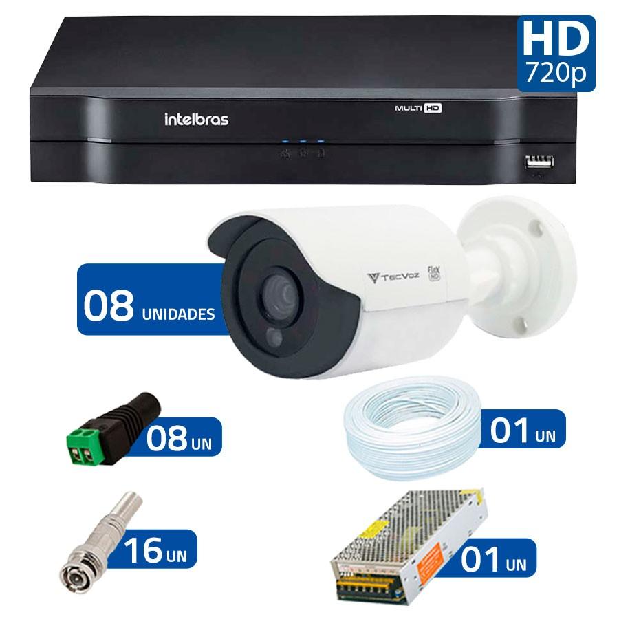 Kit 08 Câmeras de Segurança Tecvoz HD 720p CCB-128P + DVR Intelbras Multi HD + Acessórios