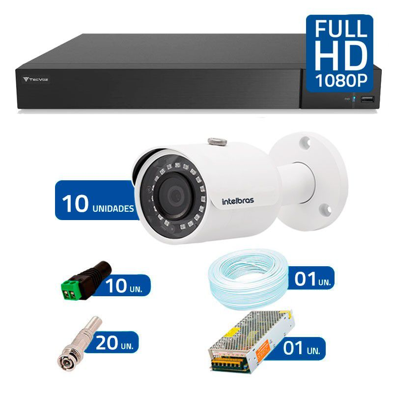 Kit 10 Câmeras de Segurança Full HD 1080p VHD 3230B IR Intelbras + DVR Tecvoz Full HD + Acessórios  - Tudo Forte