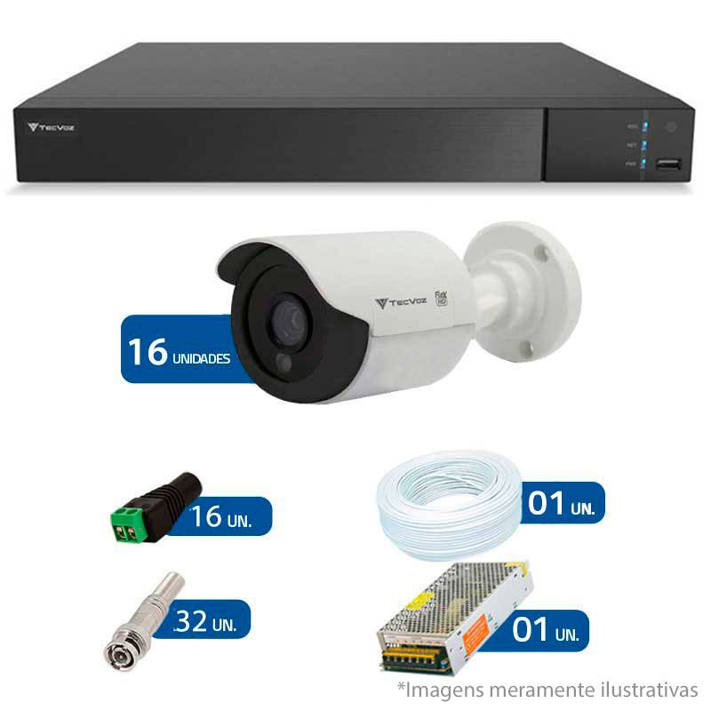 Kit 16 Câmeras de Segurança Tecvoz HD 720p CCB-128P + DVR Flex Tecvoz + Acessórios  - Tudo Forte