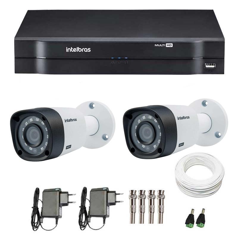 Kit 2 Câmeras de Segurança HD 720p Intelbras VHD 3120B G3 + DVR Intelbras Multi HD + Acessórios