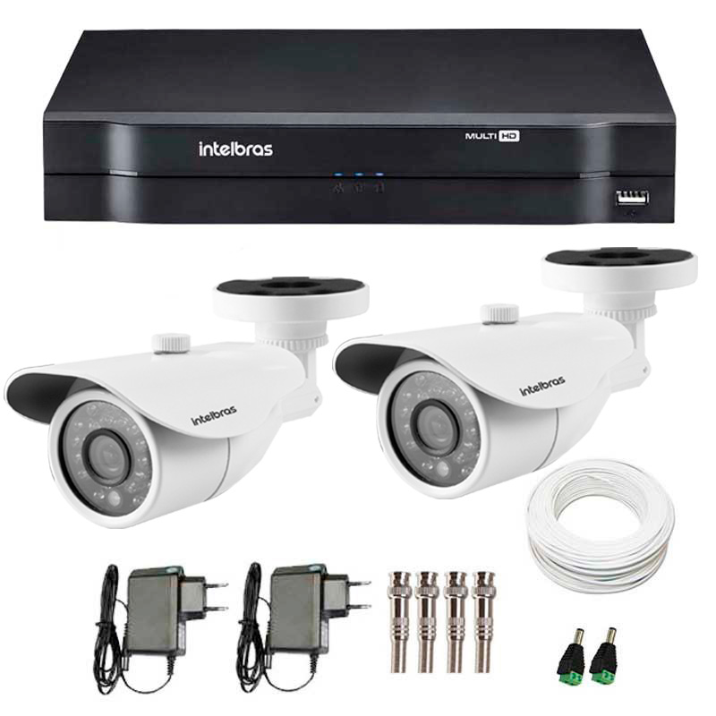 Kit 2 Câmeras de Segurança HD 720p Intelbras VM 3120 IR G4 + DVR Intelbras Multi HD + Acessórios