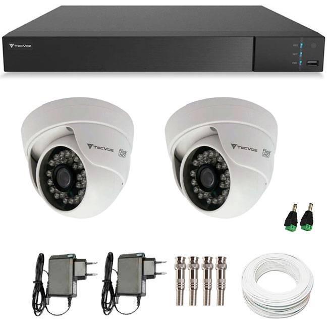 Kit 2 Câmeras de Segurança HD 720p Tecvoz Flex CDM 128P - DVR Tecvoz Flex 4 em 1 + Acessórios