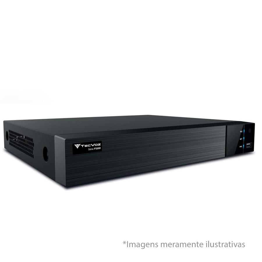 Kit 3 Câmeras de Segurança HD 720p Tecvoz Flex QDM 128P - DVR Tecvoz Flex 4 em 1 + Acessórios