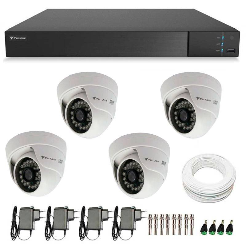 Kit 4 Câmeras de Segurança HD 720p Tecvoz Flex CDM 128P - DVR Tecvoz Flex 4 em 1 + Acessórios
