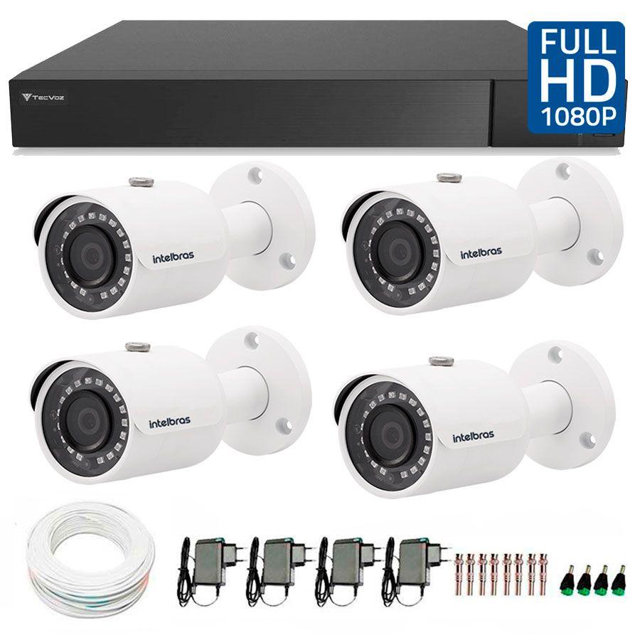 Kit 4 Câmeras de Segurança Full HD 1080p VHD 3230B IR Intelbras + DVR Tecvoz Full HD + Acessórios