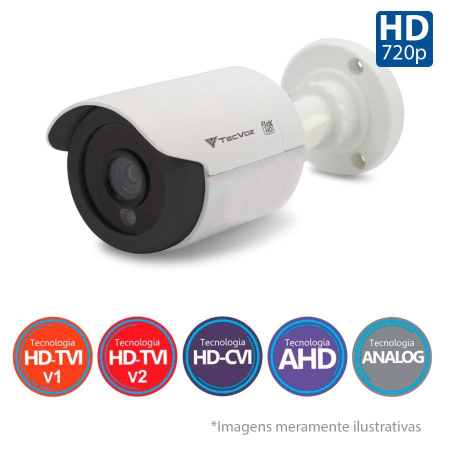 Kit 4 Câmeras de Segurança Tecvoz HD 720p CCB-128P + DVR Flex Tecvoz + Acessórios  - Tudo Forte