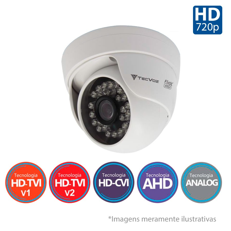 Kit 6 Câmeras de Segurança HD 720p Tecvoz Flex QDM 128P - DVR Tecvoz Flex 4 em 1 + Acessórios