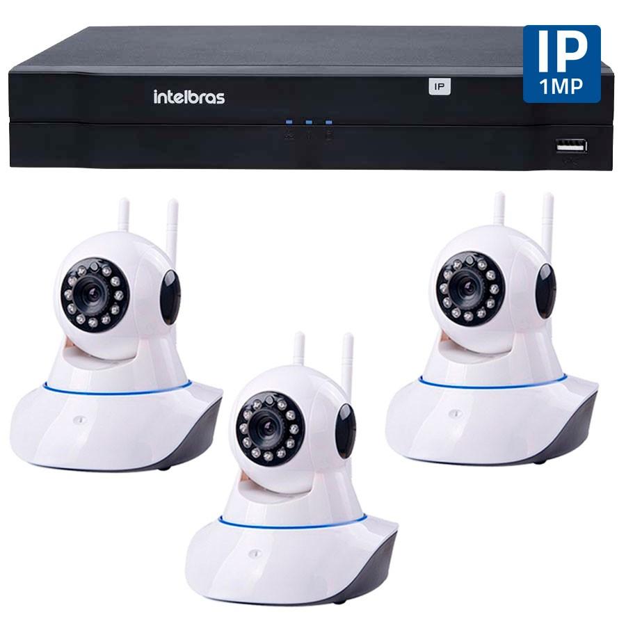 Kit 03 Câmeras de Segurança Câmeras de Segurança IP Sem Fio Wifi HD 720p Robo Wireless + NVD 1108 Intelbras, NVR ,HVR